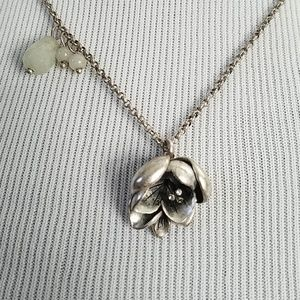 Fossil flower pendant necklace silver toned